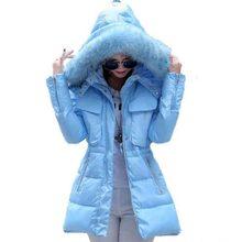 Новый 2016 зима теплая Сгущает Искусственного меховой воротник долго вниз Пальто женщин с капюшоном тонкий плюс размер 2 XL белая утка 90% пуховик AE582