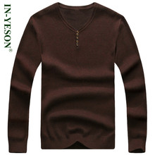 IN-YESON Brand Sweater Men Solid Color V-Neck Knitting Mens Sweaters And Pullovers Casual Slim Fit Cashmere Wool Sweaters