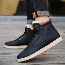 Winter Boots Men 2019 Warm Snow Boots Flats Winter Shoes Footwear Male Rubber Winter Ankle Boots Non-slip Martin Boots black