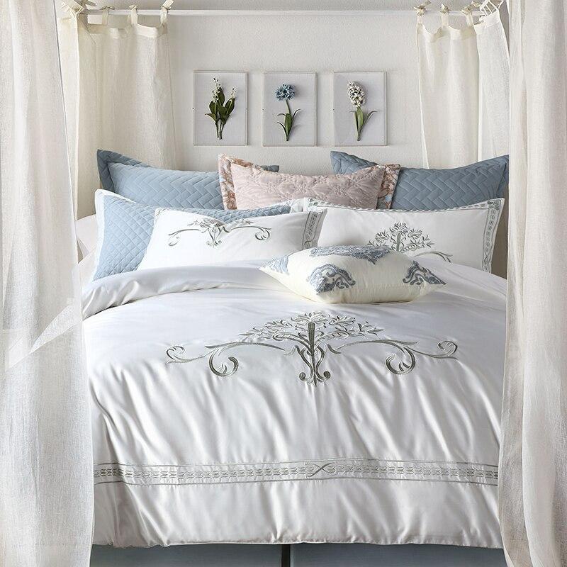 Red Blue Grey Sang Trọng Ai Cập cotton Thêu Bedding Set Nữ Hoàng King khăn Trải Giường Cỡ/tấm Chăn che set gối