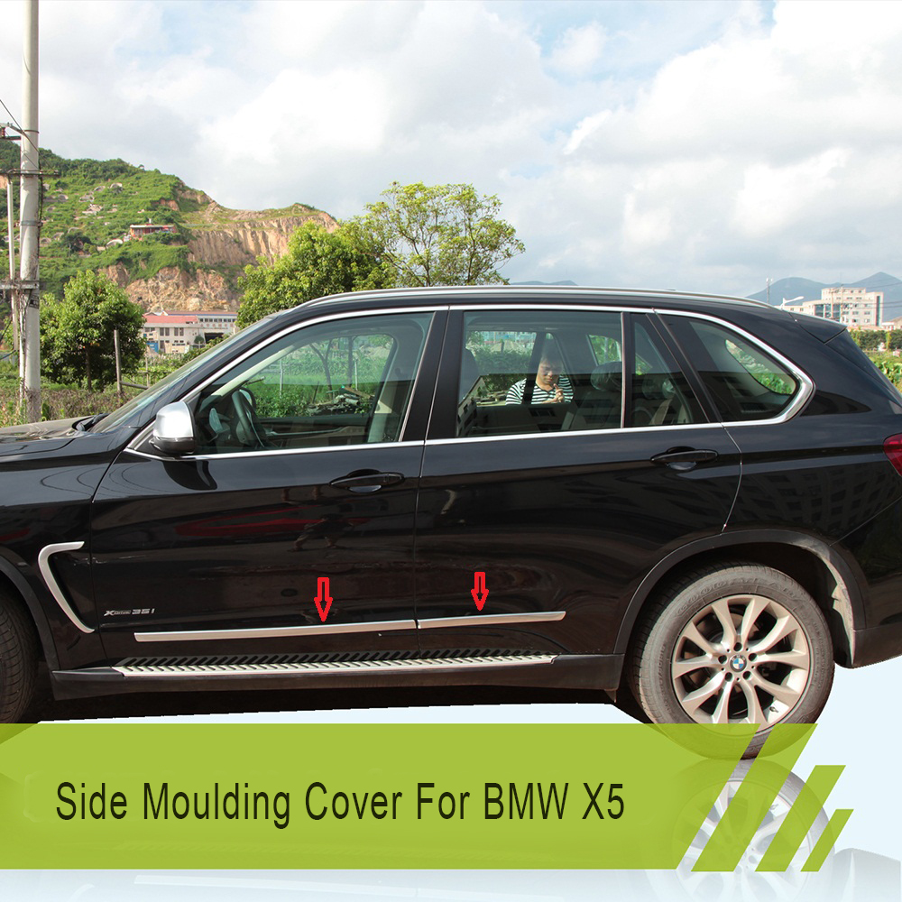 Stainless Steel Door Side Molding Cover Trim Kit Accent For 2014 2015 2016 BMW X5 F15 Auto Accessories Car Styling