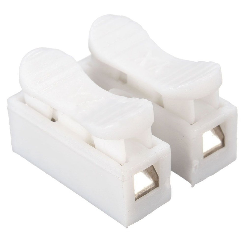 50pcs 2pin Spring Cable Clip Press Push Quick White 2p Wire Wireclip For Wiring Led Light Strips Photo 4 Connector Terminal Car Strip In Connectors From Lights