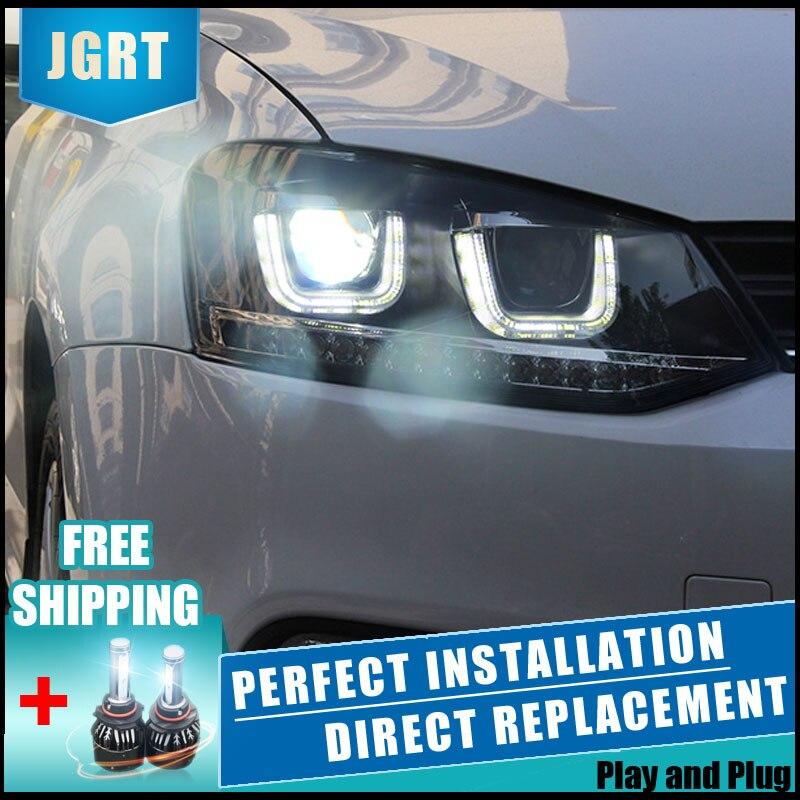 2 pcs LED Phares Pour VW Polo 2013-2015 Voiture Led Lumières Double Lentille Xénon Accessoires De Voiture Feux de jour allume la Lumière de Brouillard