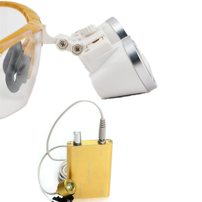 New Style 2.5X 420mm surgical binocular dental loupes with LED Head Light Lamp yellow ce new 3 5x blue dental surgical binocular loupe 420mm led head light lamp
