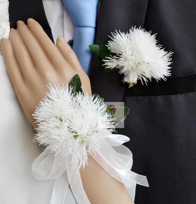 Handmade wedding corsages groom boutonniere bride bridesmaid hand handmade wedding corsages groom boutonniere bride bridesmaid hand wrist flower artificial flowers prom corsage white dandelion in artificial dried flowers mightylinksfo