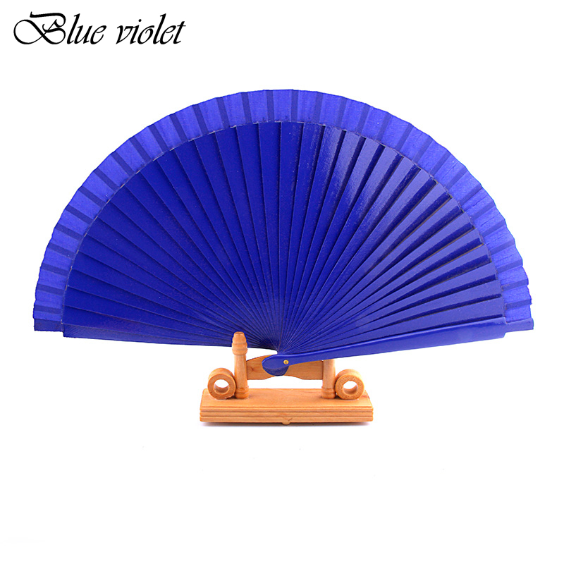 Blue Spanish Dance Performance Wooden Fans Old-Fashioned Wedding Clothing Accessories Folding Fan For Hand-Painted 44