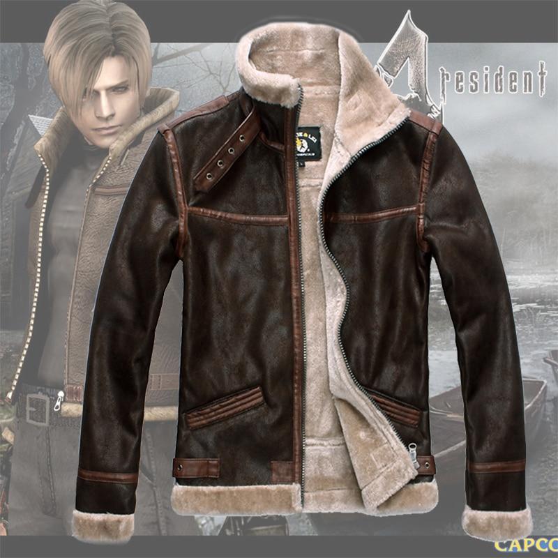 Ruler Resident Evil 4 Leon Scott Kennedy Leather Jacket Leather