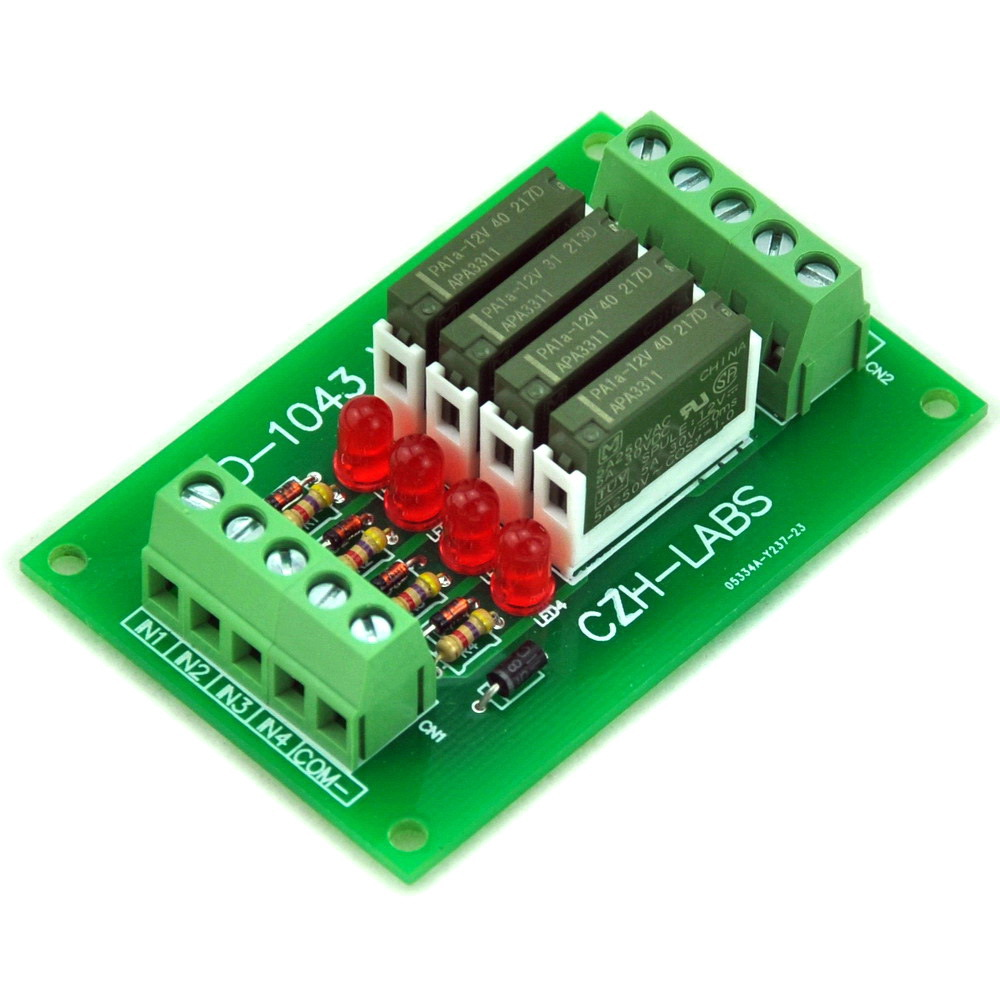 Slim Panel Mount DC12V Source/PNP 4 SPST-NO 5A Power Relay Module, PA1a-12VSlim Panel Mount DC12V Source/PNP 4 SPST-NO 5A Power Relay Module, PA1a-12V