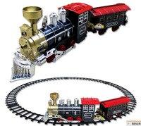 Gorące Elektryczne torów kolejowych utwór zabawki klasyczne tory kolejowe dymu z muzyki rozrywkowej Thomas dla dzieci najlepszy prezent na Boże Narodzenie na zdjęcie