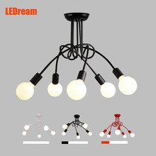 LEDream Творческий Черный & белый 5 держатели E27 с лампы потолочный светильник старинные личность современный краткое потолочное освещение водить