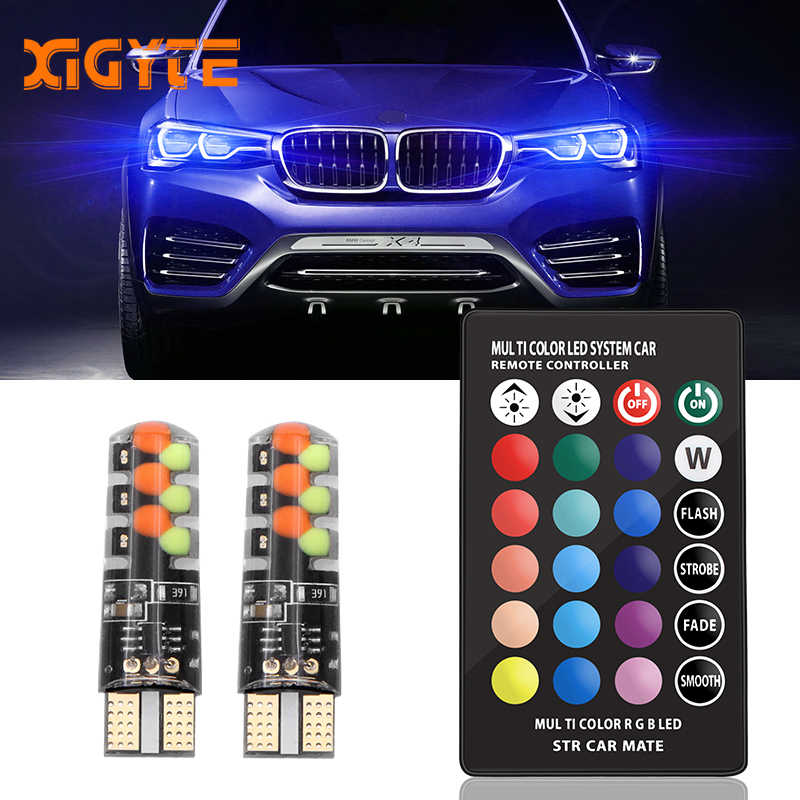 New Universal Car RGB Led W5W T10 RGB COB 12SMD Clearance lights Colorful Multi Mode Car Light Bulbs With Remote Controller 12v