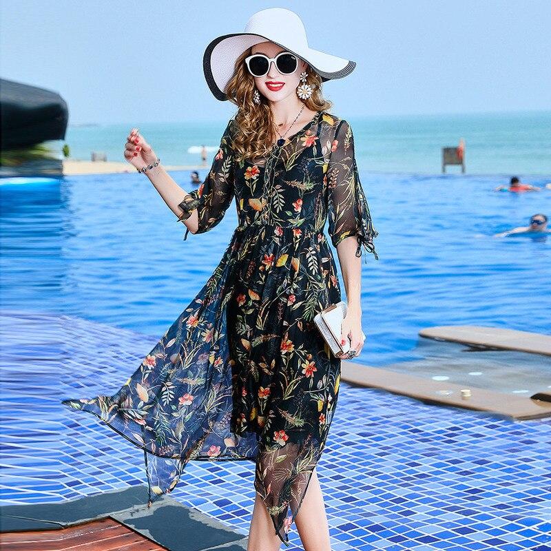 Red Américain Mode Robes Soie L12he1336 Femmes Pour Imprimée Nouvelle Robe Black Flower Été De 100 Haut Gamme Européen Et Vêtements qnBAxRn