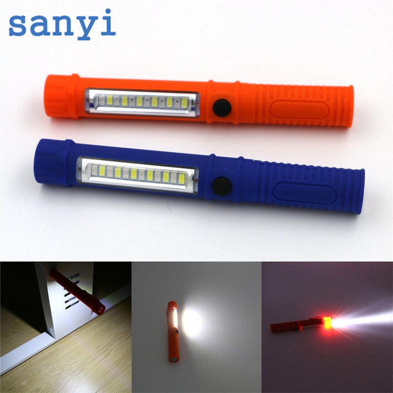 Sanyi Multifunction Mini COB LED Pen flashlight Torch Inspection Lamp Pocket Led Flash light with Clip Magnet Lanterna use 3*AAA