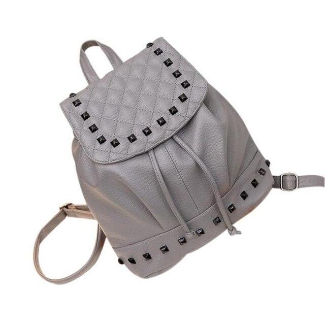 748cd8d1090 Hot Sale Girl Rivet Leather School Bag Travel Backpack college Satchel  Women Shoulder Rucksack Trendy Brand New Design gift2018