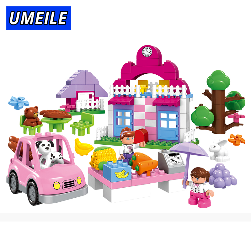 UMEILE City Girl Duplo Building Block Automobile Market Princess Diy Brick 95Pcs Baby Toys For Girl Educational Gift umeile brand farm life series large particles diy brick building big blocks kids education toy diy block compatible with duplo