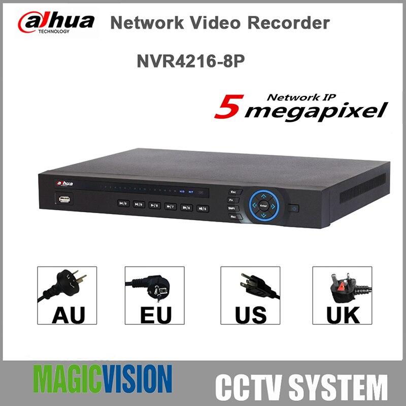 16CH NVR DAHUA 1U 8PoE Network Video Recorder NVR4216-8P Original egnlish version Support 5MP Preview,H.264+,HDMI/VGA,2 SATA