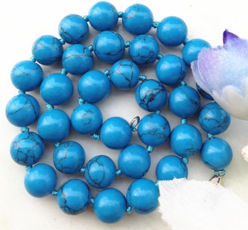 New Tempting 10mm Blue Turkey Stone Necklace Elegant Sweater Chain Beads Jewelry Making Design Natural Stone Gift For Girl Women