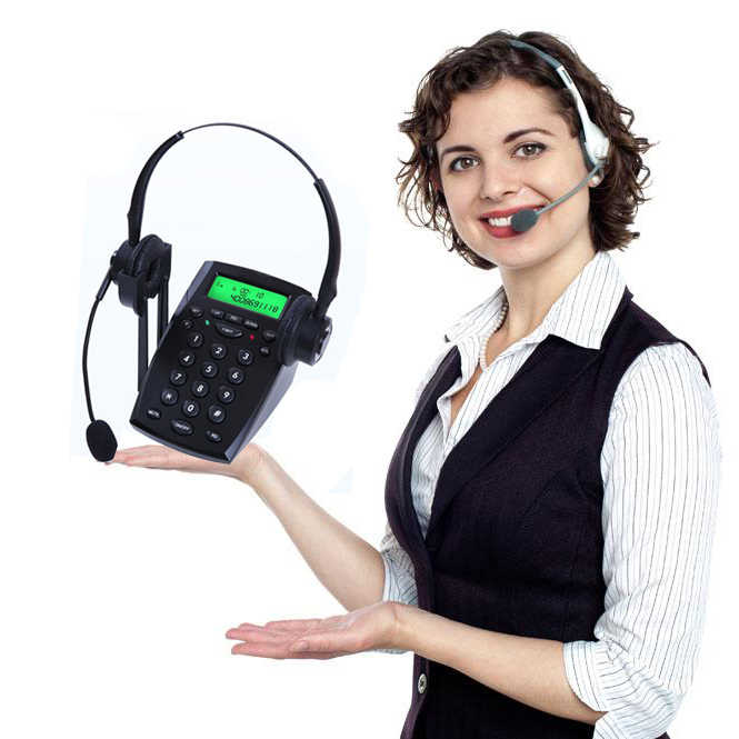 office Headset Telephone Desk Phone Headphones Headset Hands-free Call Center Noise Cancellation Monaural with Backlight custom