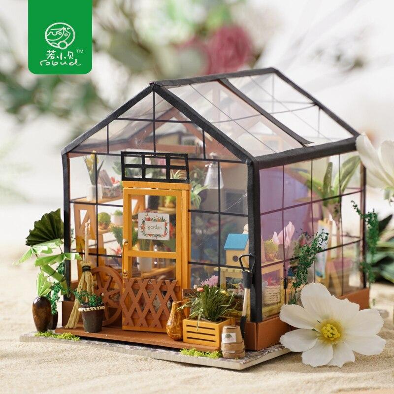 Robud миниатюрный кукольный домик DIY кукольный домик с кукольной мебелью, легкий подарок для взрослых, игрушки для детей Kathy's Flower house