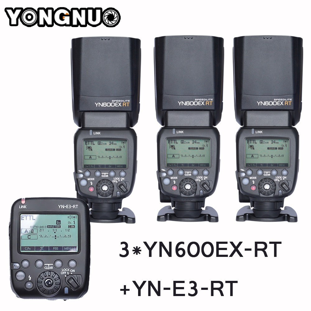 3PCS YONGNUO YN600EX-RT Auto TTL HSS Flash Speedlite +YN-E3-RT Controller for Canon 5D3 5D2 7D Mark II 6D 70D 60D yongnuo 3x yn 600ex rt ii 2 4g wireless hss 1 8000s master flash speedlite yn e3 rt flash trigger for canon eos camera 5d 6d