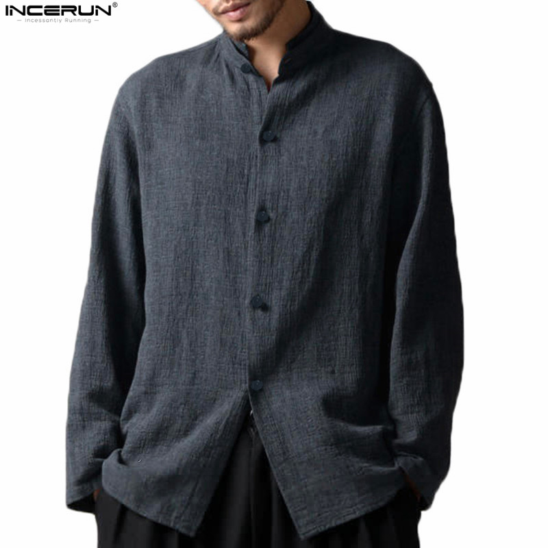Chinese Style Stand Collar Long Sleeve <font><b>Linen</b></font> <font><b>Shirts</b></font> <font><b>Men</b></font> <font><b>Vintage</b></font> <font><b>Shirt</b></font> Casual Loose <font><b>Men</b></font> <font><b>Shirt</b></font> camisa Social camisa masculina image