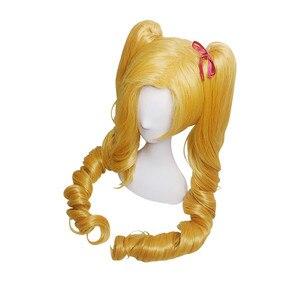 Image 4 - L e mail perücke LOL Jinx Cosplay Perücken Weihnachten Ehrgeizige Elf Jinx Cosplay Perücke Lange Gelbe Welle Bunches Synthetische Haar perucas