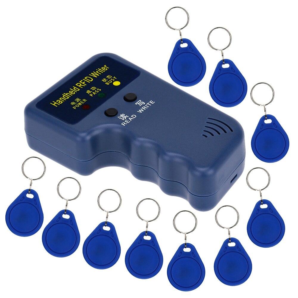 bilder für 125 Khz Handheld Rfid-leser-verfasser Ausweis Schlüsselanhänger Duplizierer Duplizieren/Kopie Tür System + 10 stücke Beschreibbare EM4305 Schlüsselkarten Schlüsselanhänger