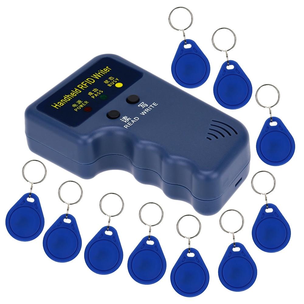 imágenes para 125 Khz RFID de Mano Lector de Tarjeta de IDENTIFICACIÓN Mando Duplicadora Duplicar/Copia Sistema de Puerta + 10 unids Em4305 Key Cards Keyfob