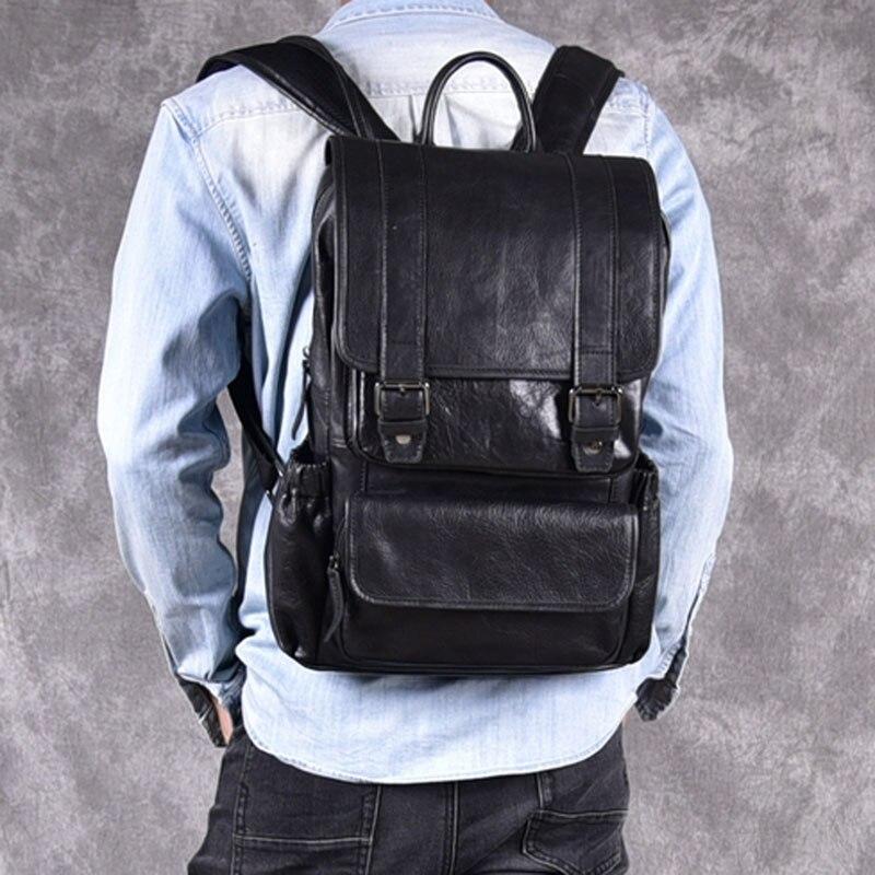 AETOO sac à dos en cuir de cheval fou pour hommes multifonctionnel en cuir véritable 14 sac à dos pour ordinateur portable en cuir de vache sacs d'école à bandoulière - 2