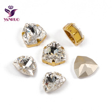 YANRUO 4706 Trilliant Fancy Stones Glass Beads Pointed back Crystal With Claw Setting Crafts Sew on Dress