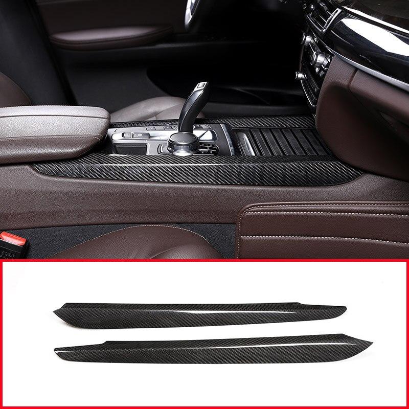 2 pçs fibra de carbono real para bmw x5 f15 x6 f16 2014-2018 centro do carro decoração guarnição acessórios