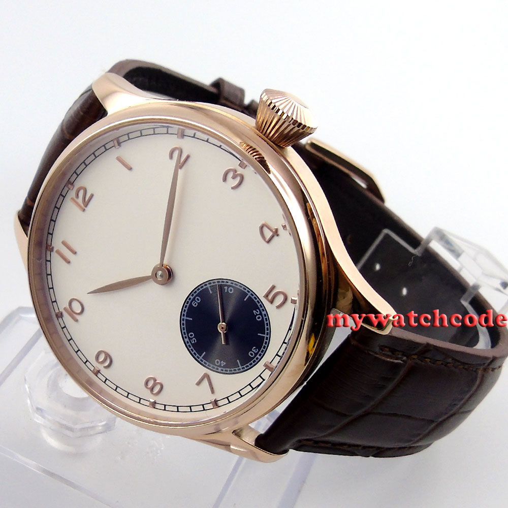 44mm Corgeut sterile white dial rose golden case 6498 hand winding mens watch 20 corgeut 44mm white dial rose golden case hand winding 6498 mens watch