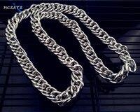 MCSAYS Hip hop Clássico Italiano Dos Homens Colar de Corrente Figaro Chain link 90 cm Grosso Colar de Jóias de Moda (tamanho M; cor Prata)