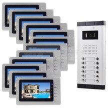 DIYSECUR 7″ Indoor Monitor Apartment Video Door Phone Doorbell Audio Visual Intercom Entry System IR Camera For 12 Families