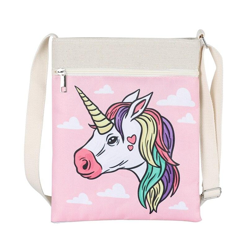 Pink unicorn printed embroidery owl elephant zipper