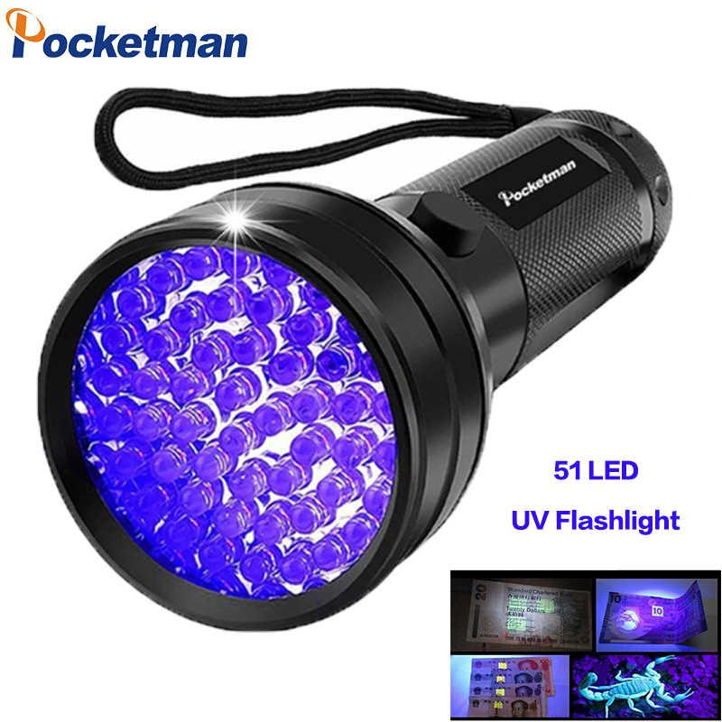 УФ-фонарик черный свет, 9 12 21 51 светодиодный 395 нм УФ фонарик детектор с лампой чёрного света для собак мочи, ПЭТ Красители и постельное z50