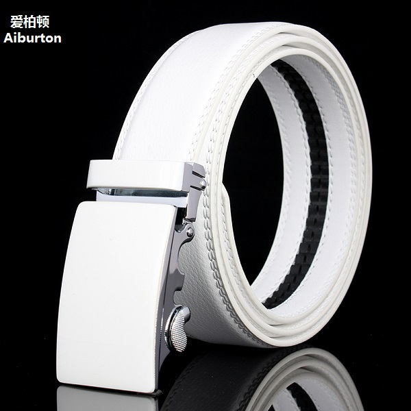Luxury Brand automatic big buckles male belt Active genuine leather chastity White black Belts brief man strap business styles