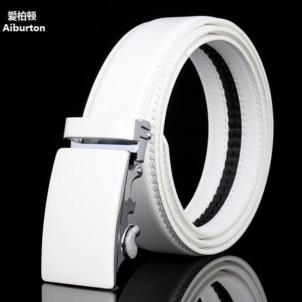 Marca automático de lujo grandes hebillas de cinturón masculino Activo hombre de negocios correa de cuero genuino Cinturones de castidad Blanco negro breve estilos