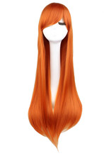 QQXCAIW Long Straight  Cosplay Orange 80 Cm Synthetic Hair Wigs