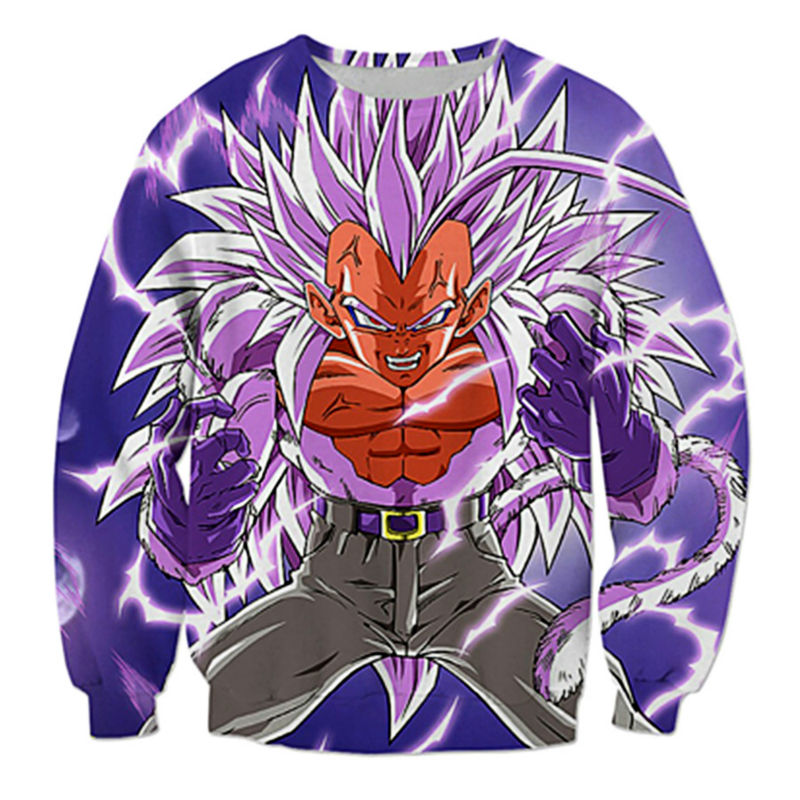 Classic Anime Dragon Ball Z Hoddies Long Sleeve Outerwear Men Hipster 3D Sweatshirt Super Saiyan Goku Crewneck Pullovers