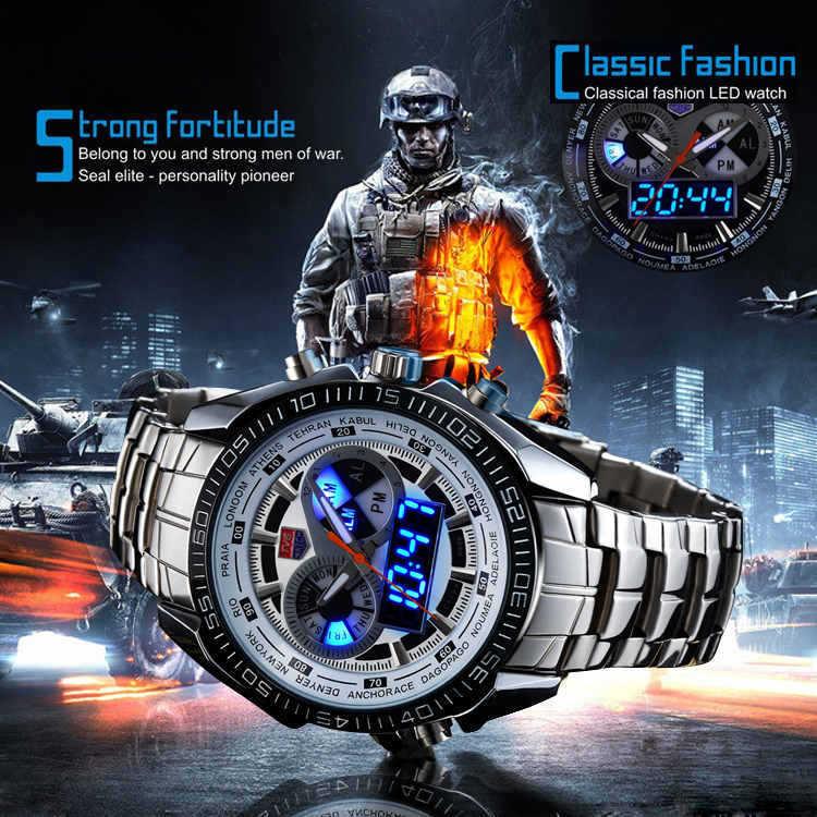 Prix pour Sport Montres vente chaude Marque TVG Hommes de Montres Numérique LED Militaire Montres En Acier Inoxydable Montre Homme Horloge Relogio Masculino