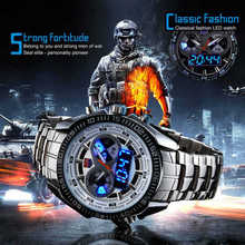 Relojes deportivos de Marca venta caliente Relojes Digitales LED Relojes Militares de Acero Inoxidable TVG hombres Reloj Hombre Reloj Relogio masculino