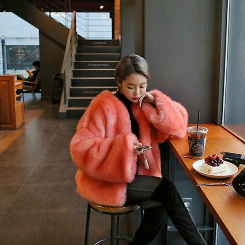 Stylish O neck Long Hairy Shaggy Faux Fox Fur Short Jackets Winter Woman Loose sleeve Loose