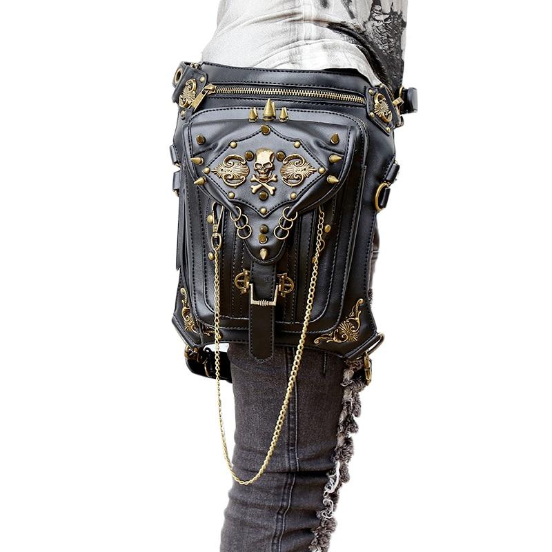 Fashion Gothic Steampunk Skull Retro Rock bag Men Women Waist Bag Shoulder Bag Phone Case Holder