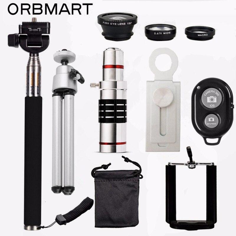 ORBMART 18X Télescope + 3 en 1 Fish Eye Lens + extensible Poche Selfie Bâton + Bluetooth Obturateur Lentille Kit Pour iPhone Samsung
