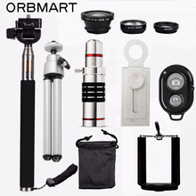 Фотография ORBMART 18X Telescope + 3 in 1 Fish Eye Lens + Extendable Handheld Selfie Stick + Bluetooth Shutter Lense Kit For iPhone Samsung