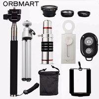 ORBMART 18X Telescope 3 In 1 Fish Eye Lens Extendable Handheld Selfie Stick Bluetooth Shutter Lense