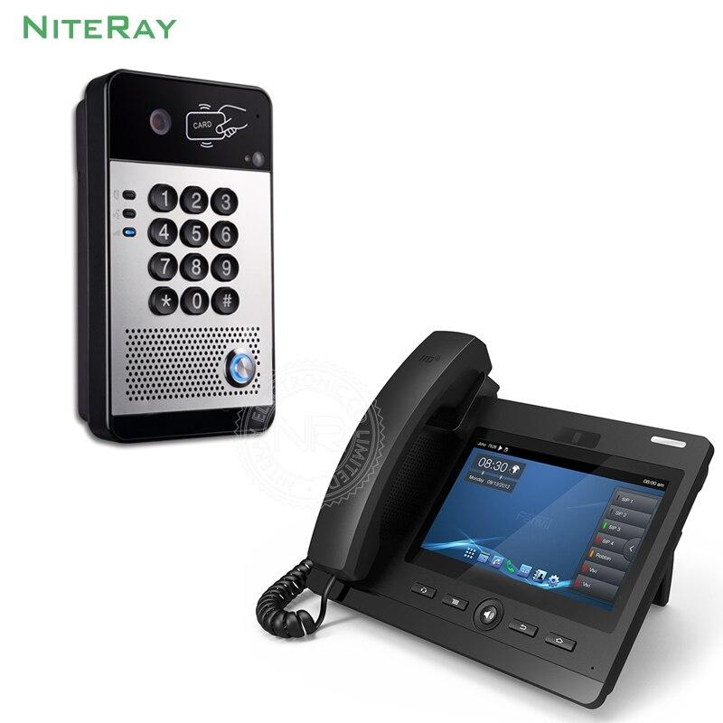Conception étanche IP porte téléphone mot de passe/carte pour déverrouiller vidéo porte interphone sip téléphone pour hôtel/usine smart voIP téléphones système