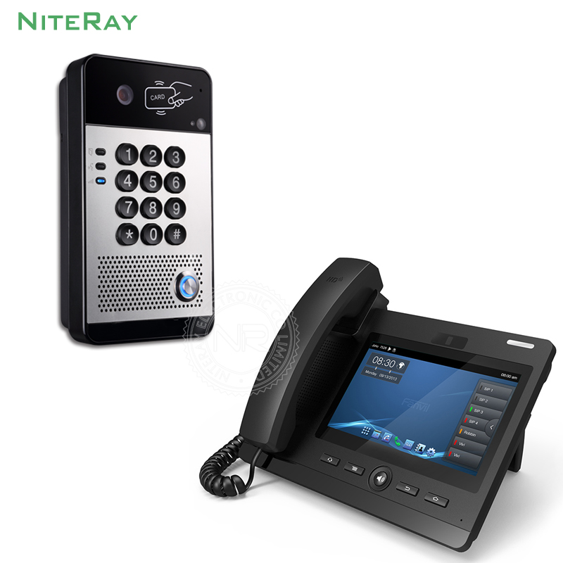 все цены на Waterproof design IP door phone password/card to unlock video door intercom sip phone for hotel/factory smart VoIP phones system онлайн