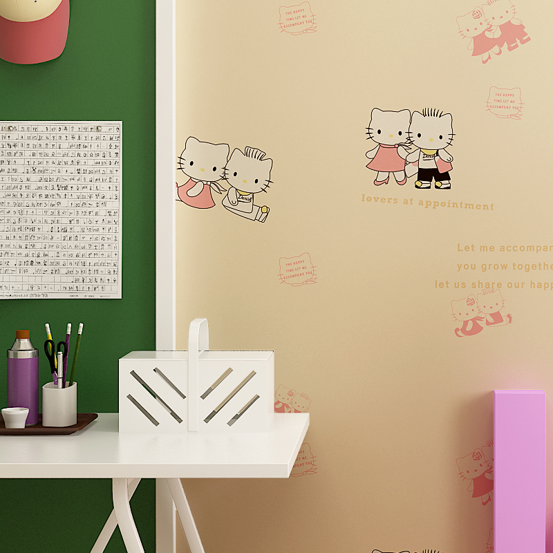 2016 New Arrival Cute Hello Kitty Wallpaper Kids Bedroom Decorative